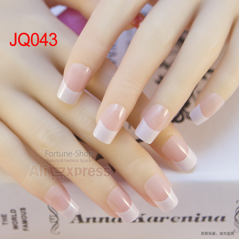 JQ 24pcs/set Acrylic Nails 3d False Nail Full Fake Nail French Nail ...