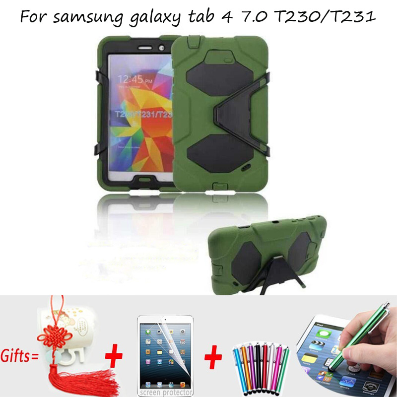 Armor Shockproof Cover for Samsung galaxy Tab 4 7.0 Case Kids Kickstand Silicone Case for Samsung Galaxy Tab 4 7.0 T230 T231 pannovo silicone shockproof fallproof dustproof case cover for samsung galaxy note 3 n9000 black