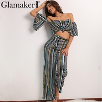 Glamaker Spring Off Shoulder Two Piece Striped Loose Pants Sexy Slim Casual Jumpsuit Romper Cool Summer