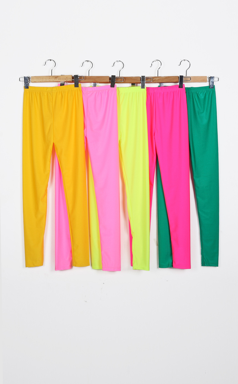 Women Solid Color Fluorescent Shiny Pant Leggings Spandex Shinny Elasticity Casual Trousers 21