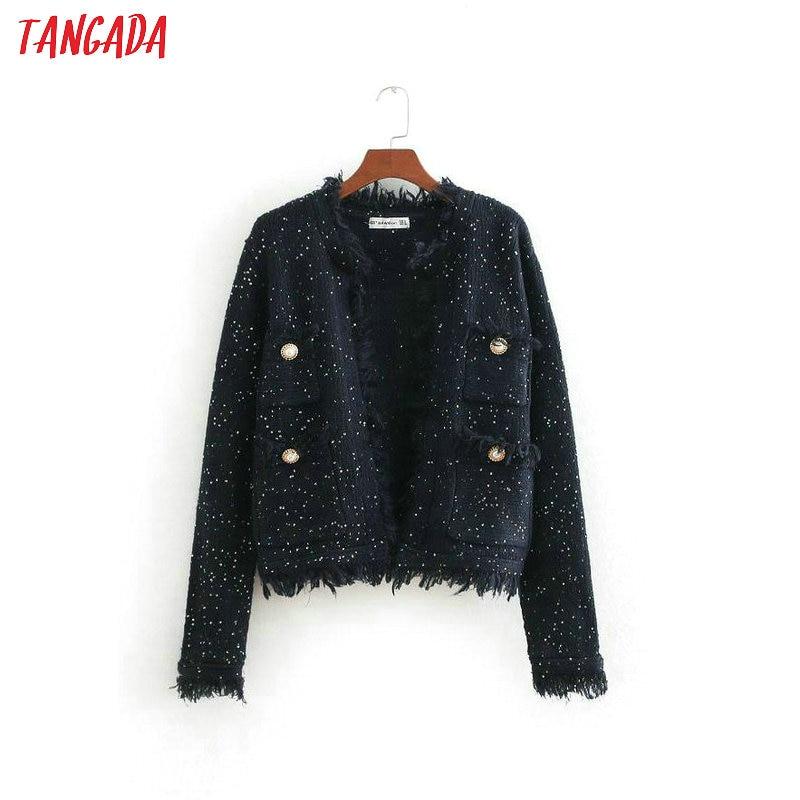 Tangada women sequined knitted jacket fringe pockets winter office lady jacket long sleeve coats female casual