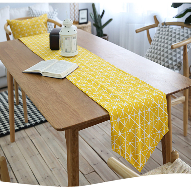 Cotton Table Runner For Christmas Yellow Table Runners For Wedding Morden Table  Runner Home Decoration Printed