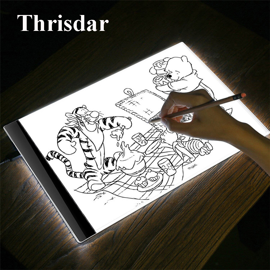 Thrisdar A4 LED Graphic Tablet Writing Painting Light Box Tracing Board Copy Drawing Tablet Artcraft A4 Copy Table Board Light m way 35x23x0 52cm ultra thin pencil drawing table graphics tablet a4 led copy adjustable brightness tracing copyboard