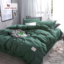 SlowDream Green Solid Color Bedding Set Luxury Bedspread Bed Sheet Pillowcase Duvet Cover 4pcs Double Queen Single Nordic