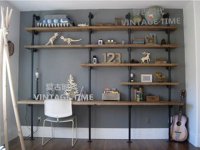 American Rural Retro Iron Wood Desk Wall Mounted Display Shelves Shelf Bracket Free Shipping