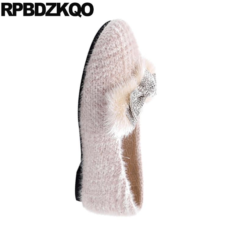 Cristal 2018 Plaid Appartements Carré Sur Chine Chaussures Mignon Avec Beige Celebrity Orteil Arc Glissement Peu noir Kawaii Strass Bowtie Diamant Femmes 50ZqWwq1ap