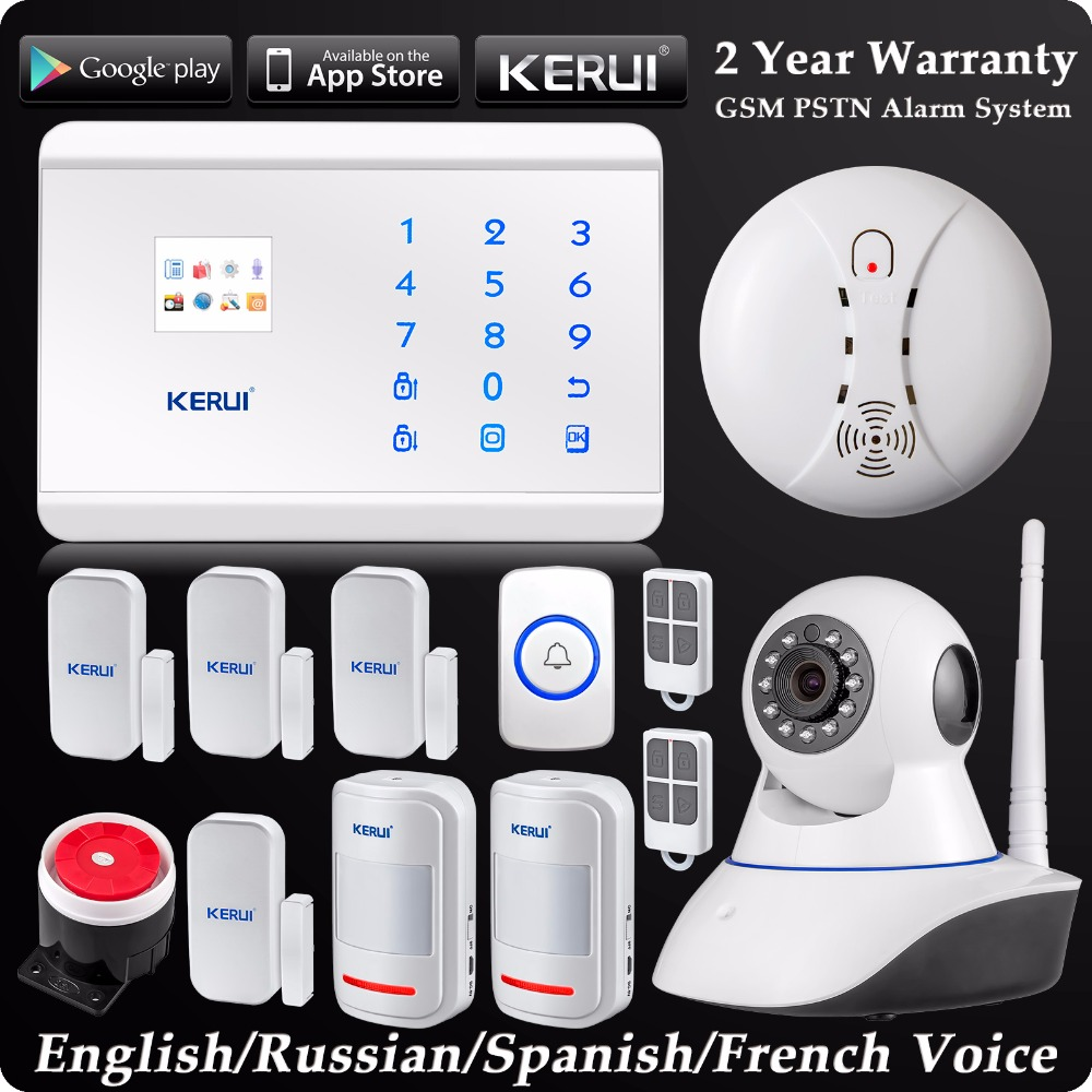 KERUI Wireless Dual-Network GSM PSTN Home Alarm System Android IOS APP Control Security System WIFI HD Camera + Panic Button kerui w2 wifi gsm home burglar security alarm system ios android app control used with ip camera pir detector door sensor