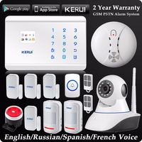KERUI Wireless Dual Network GSM PSTN Home Alarm System Android IOS APP Control Security System WIFI HD Camera + Panic Button