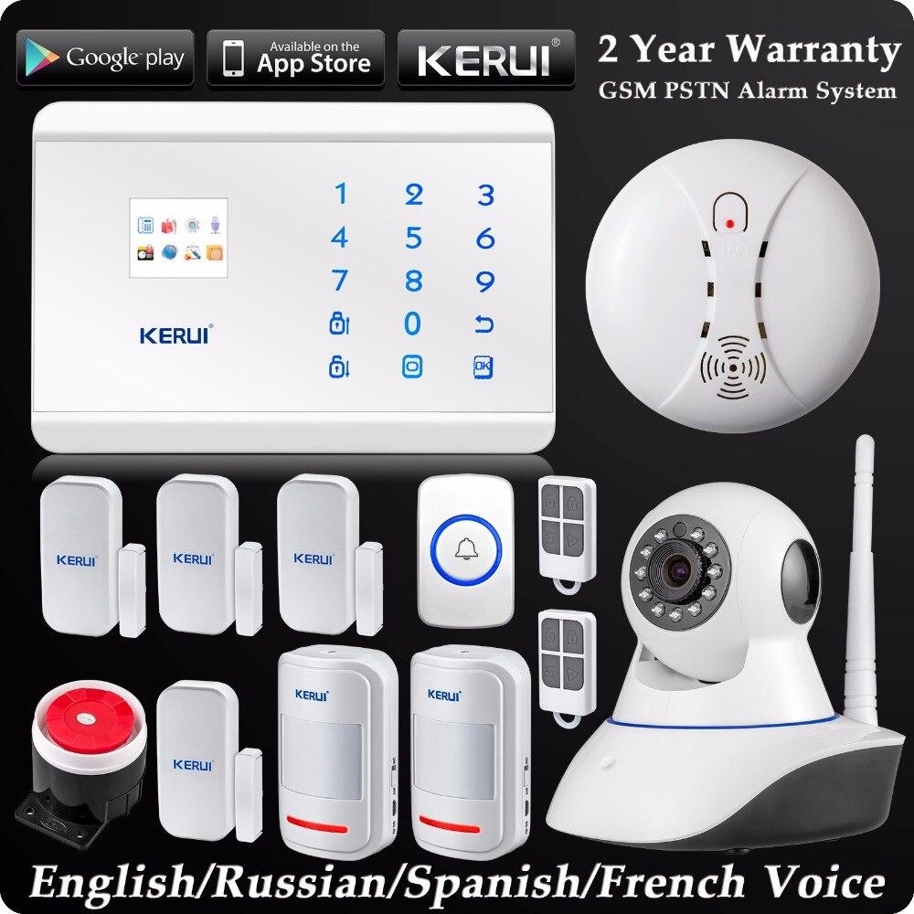KERUI Wireless Dual Rete GSM PSTN Sistema di Allarme Domestico Android IOS APP Sistema di Sicurezza di Controllo WIFI HD Macchina Fotografica + tasto di panico