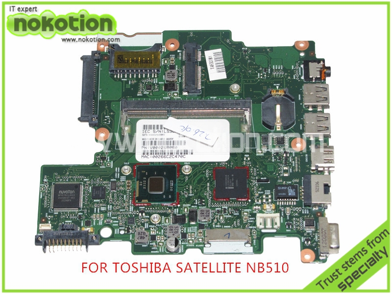 NOKOTION 6050A2488301-MB-A02 SPS V000268060 Laptop Motherboard For toshiba satellite NB510 DDR3 SR0W1 n2600 cpu Onboard nokotion for acer aspire 5750 laptop motherboard p5we0 la 6901p mainboard mbrcg02005 mb rcg02 005 mother board