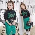 Nueva primavera 2017 ropa de los niños niñas ropa set 2-8years niña chándales de manga larga tops + dress niños ropa de bebé al por menor
