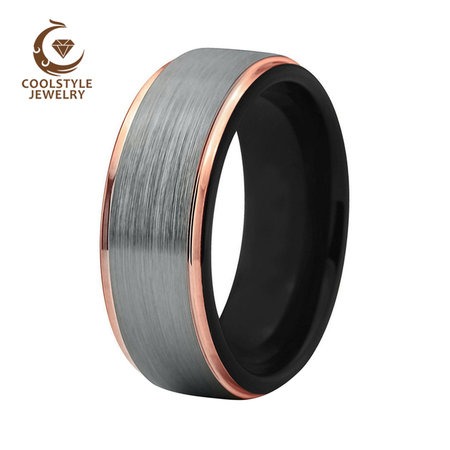 8mm Mens Womens Wedding Band Two Tone Black Rose Gold Tungsten