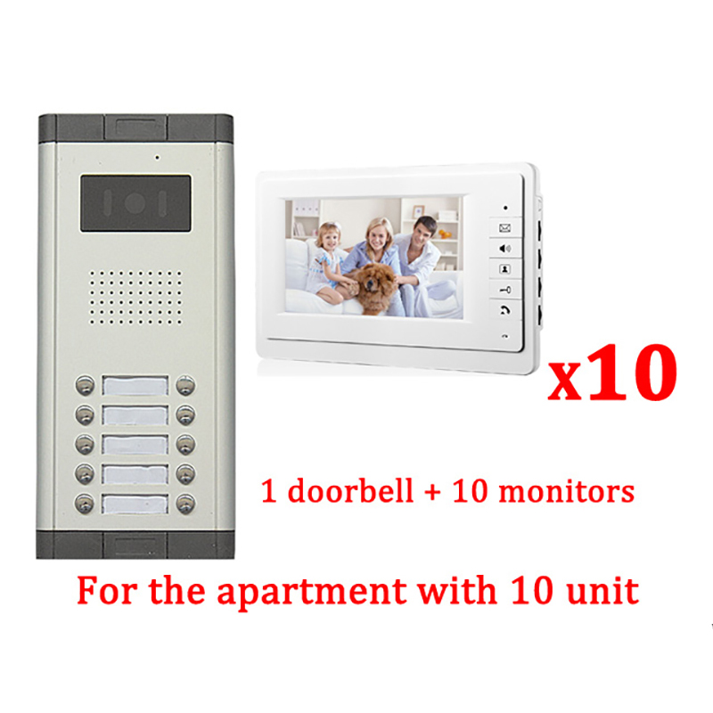 7 LCD Apartment Wired Video Door Phone Audio Visual Intercom Entry System 1 HD Outdoor Camera With 10 monitor wltoys 12428 12423 1 12 rc car spare parts 12428 0091 12428 0133 front rear diff gear differential gear complete