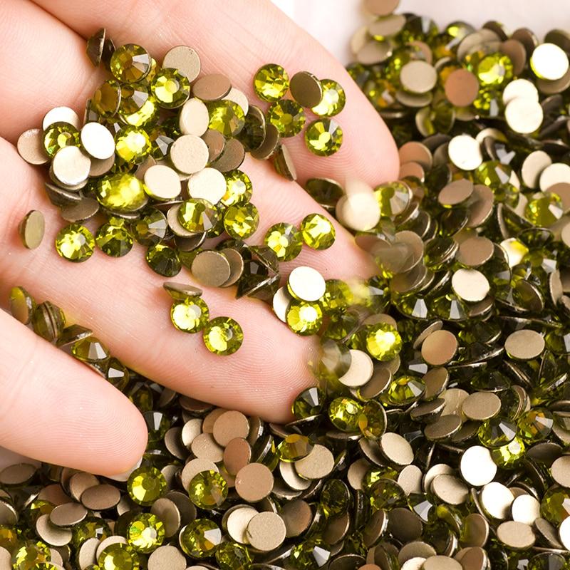 DIY Glitter SS3-SS34 Olivine Flat Back Nail Rhinestone 3D Non HotFix - Մանիկյուր - Լուսանկար 2