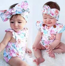 Baby Girls Infant Floral Romper Bodysuit One-pieces Summer Clothes Sunsuit Sets(China)