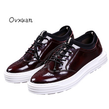 Ovxuan Carved Leather Men Platform Shoes Luxury Brand Male Casual Leather Shoes Fashion Party Mens Dress Brogues Oxford Shoes