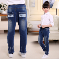 Fashion Summer Elestic Waist Children Kids Pants Baby Girl Jeans Denim Blue Color Jeans For 110C 160CM Newborn Baby Girl Clothes