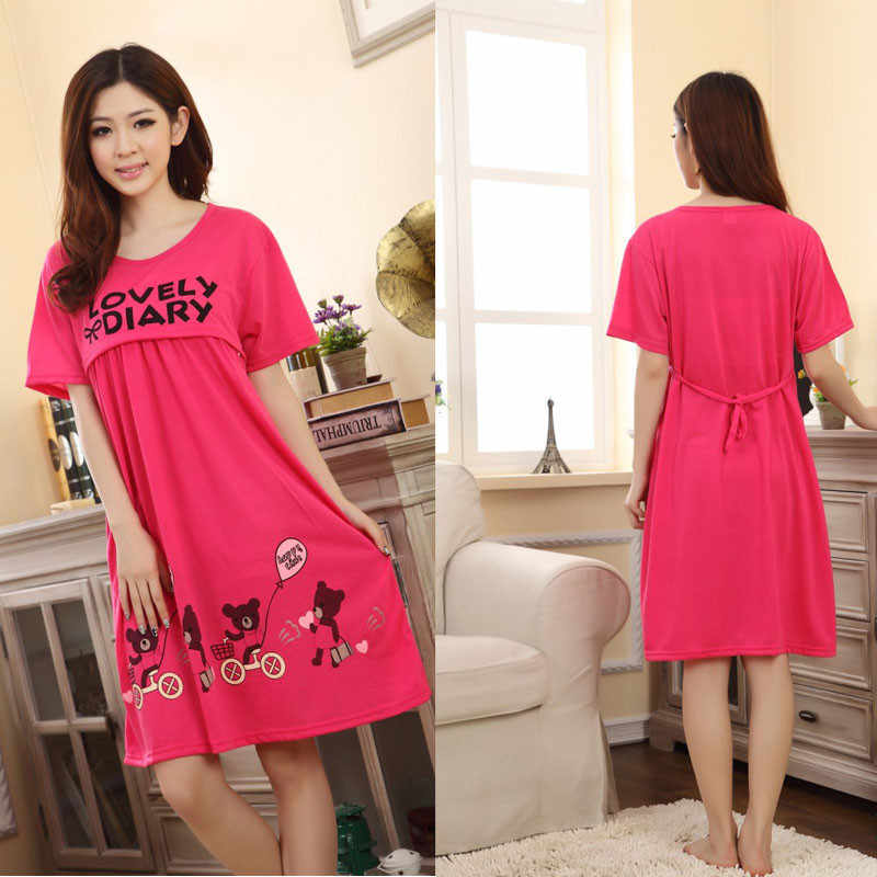 eb23476b3b4e0 ... Maternity Nightwear Clothes For Pregnant Women 2017 Summer Cotton Nursing  Dresses Sleepwear Pregnant Clothing roupa gestante ...
