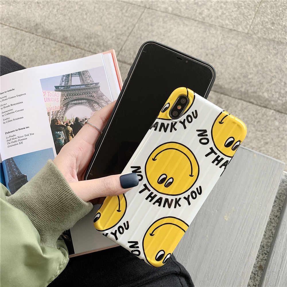 Amarelo sorriso rosto Caso de Telefone para o iphone X XS MAX XR 6 emoji 6 S 7 8 Mais Suave Moda coque Luxo Reflexivo Tampa traseira