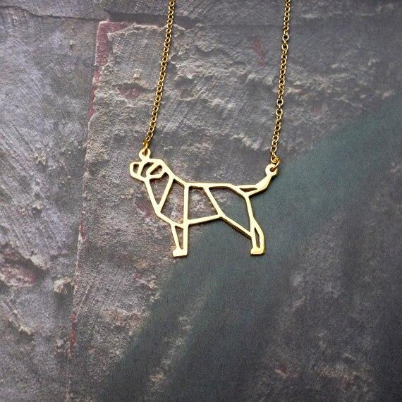 88b794b2986f Venta al por mayor de oro de plata color Labrador collar mujeres origami  declaración collar joyería
