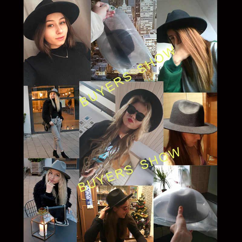 2018 Otoño Invierno mujer fieltro sombrero fedora gorros de ala grande para mujeres estilo británico Vintage Iglesia sombreros señora ala plana sombreros de fieltro