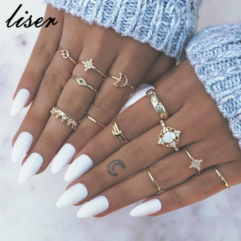 12Pcs/Set Vintage Star Opal Crystal Finger Ring Set Bohemian Gold Moon Crown Knuckle Midi Rings Women Jewelry Accessories
