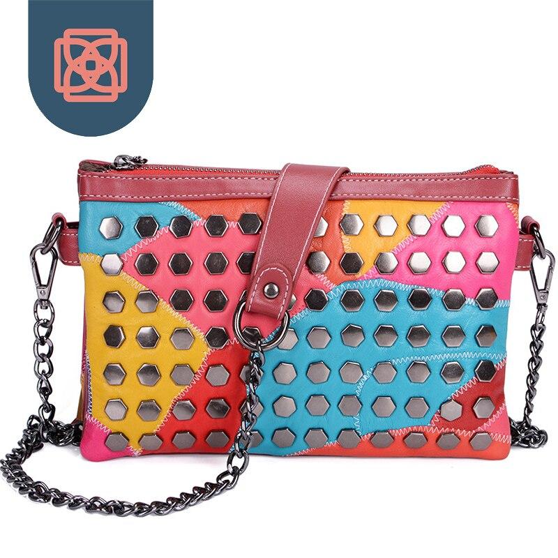 ФОТО Rivet Clutch Designer leather Handbag Night Out Party Bag women  Envelope Bag Shoulder Bag Chain messenger bags sheepskin