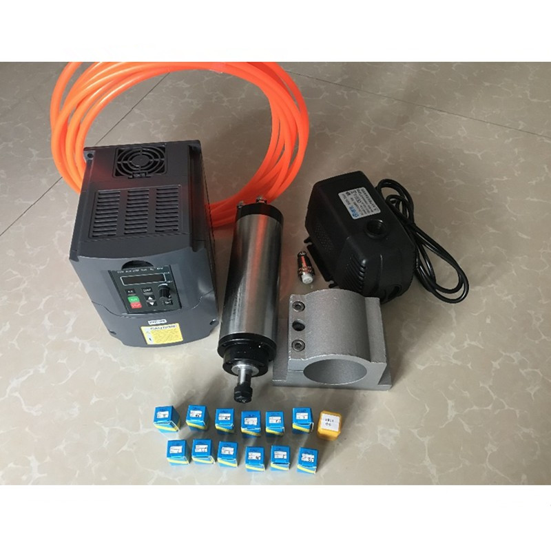 RU delivery 2 2KW Water Cooled Spindle Motor 2 2KW 220V Inverter 80mm Clamp Water Pump