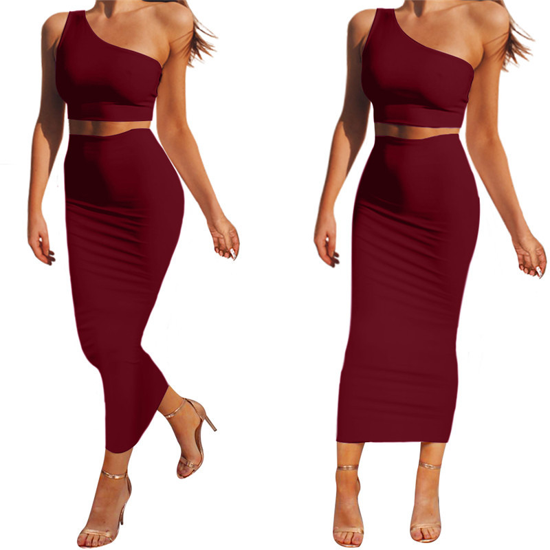 Sexy Off Shoulder Women Two Piece Set Solid Color midriff-baring Top and Skirt Set Slim Crop Top and Bodycon Dress Set
