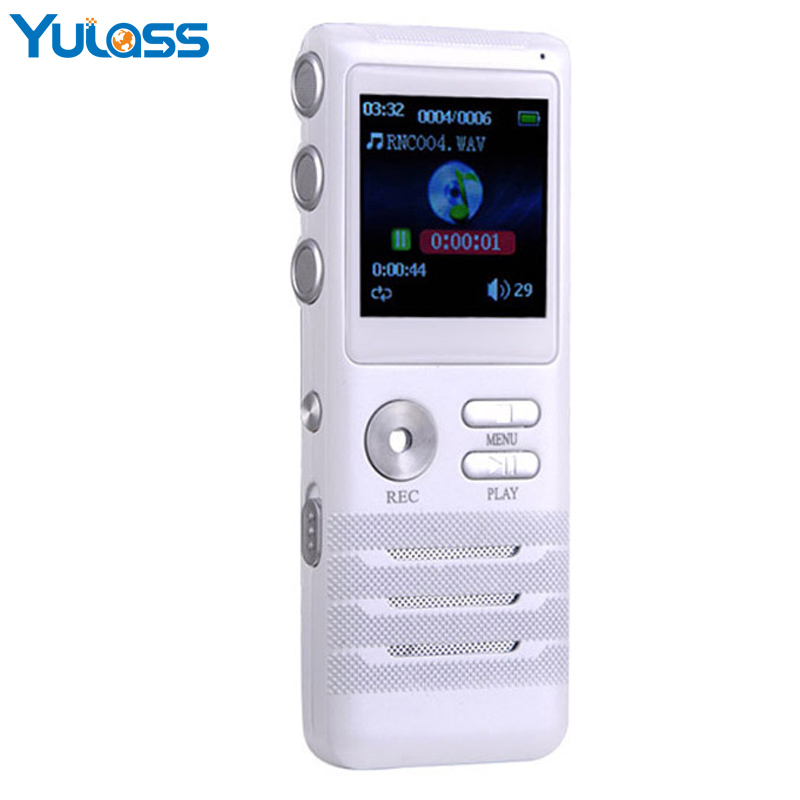 Yulass Best Digital Voice Recorder USB 8GB Large Multi Languages White Audio Recorder professional With MP3 Player/WMA/WAV multi function hd 720p rechargeable 0 9mp pet video recorder w mp3 player white 8gb page 1