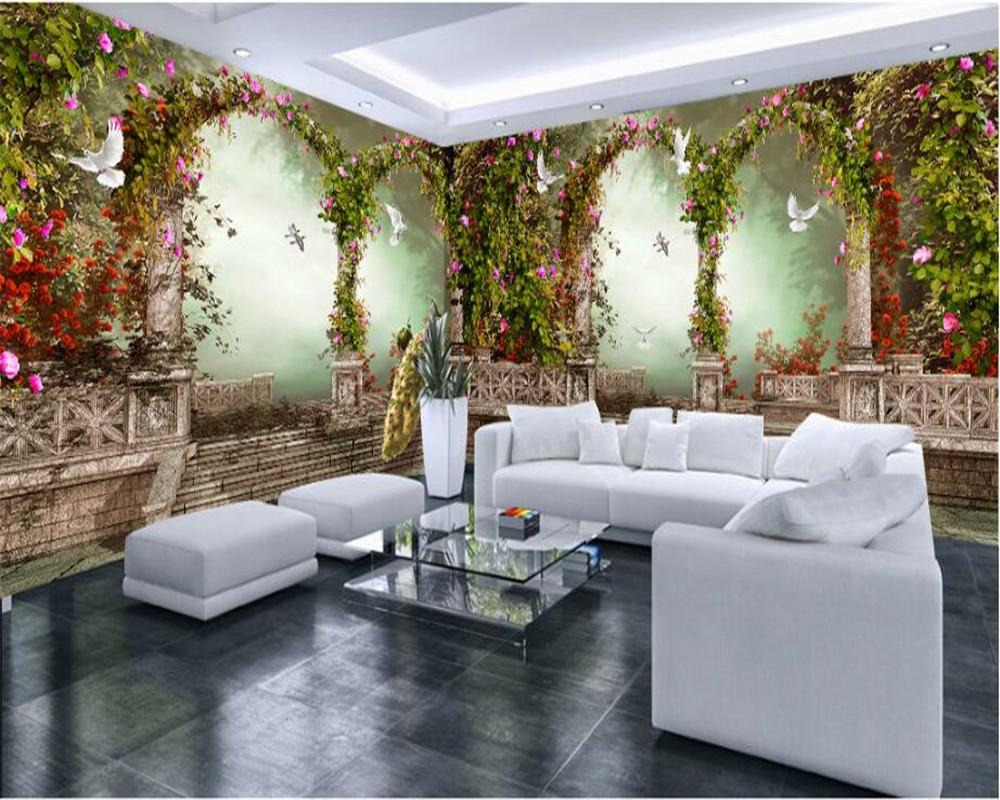 US $9.0 40% OFF Beibehang Fantasie schöne wand papier bögen große spalten  pastoralen blumen pfau haus wandmalereien papel de parede tapete in ...