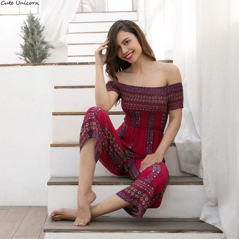Soft Fashion Women Summer elastic Playsuit Overalls Casual Female Floral Print Off Shoulder Wide Leg Pants Jumpsuit Romper