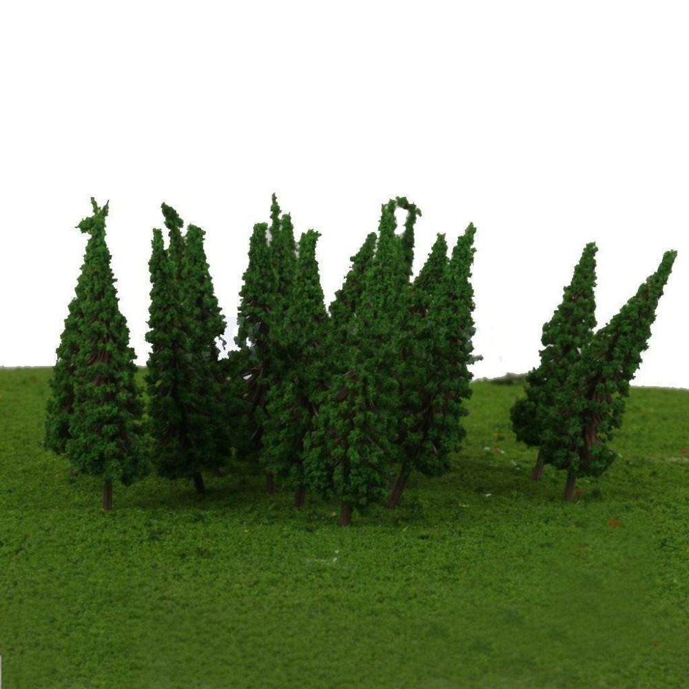 50 Pcs Park Trees Model Train Railroad Wargame Diorama Landscape Architecture Scenery HO OO Scale Model Pine Trees 68mm