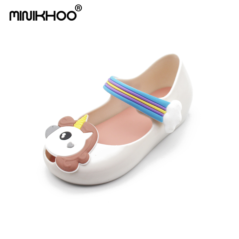 Mini Melissa Original Cute Unicorn Girls Jelly Sandals 2018 New Melissa Shoes Toddler Beach Sandals 15-18cm Breathable Sandals