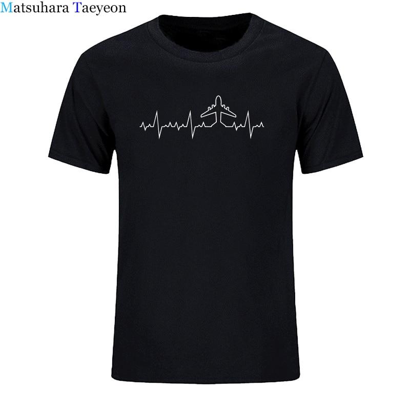 print   t     shirt   Heartbeat Plane Pilot Funny Print   T     Shirt   Men Short Sleeve Cotton Plane Driver   T  -  shirts   Mens Clothing Camisetas