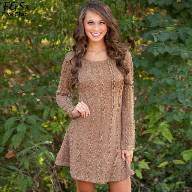 Long sleeve sweater dress plus size