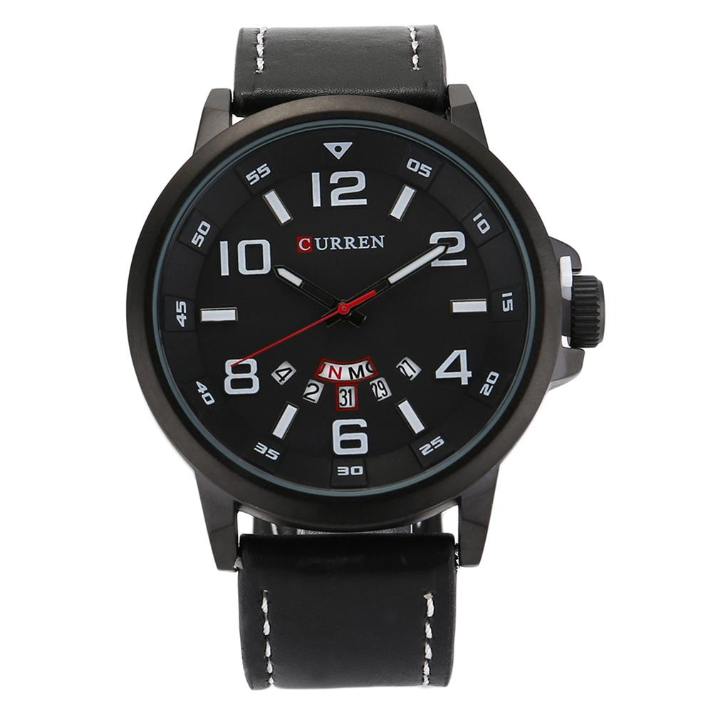 CURREN Date Men Watch Top Luxury Brand Sport Military Business Casual Male Clock Leather Band Wrist Quartz Mens Watches Hot casual watch men date analog canvas band sports waterproof quartz watch luxury male clock business mens wrist watch