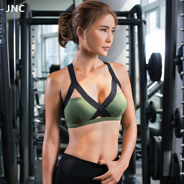 9d6070964c New Army Green Yoga Bra Women s Gym Fitness Yoga Top Bra Popular Sports Bras  Girls Push Up Patchwork Workout Running Sports Bra
