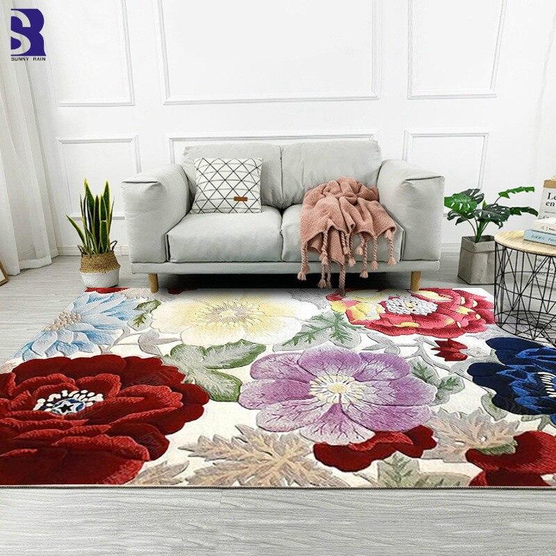 SunnyRain 1 pièce 3D fleurs tapis pour salon tapis et tapis pour chambre tapis grande taille résistance au glissement