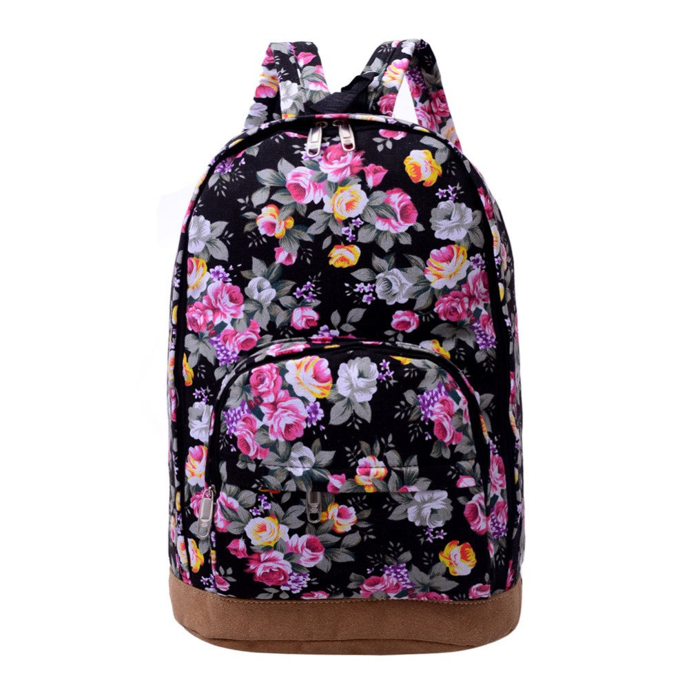 Fashion Floral Print Backpack Casual Women Canvas Backpacks For Teenage Girls School Computer