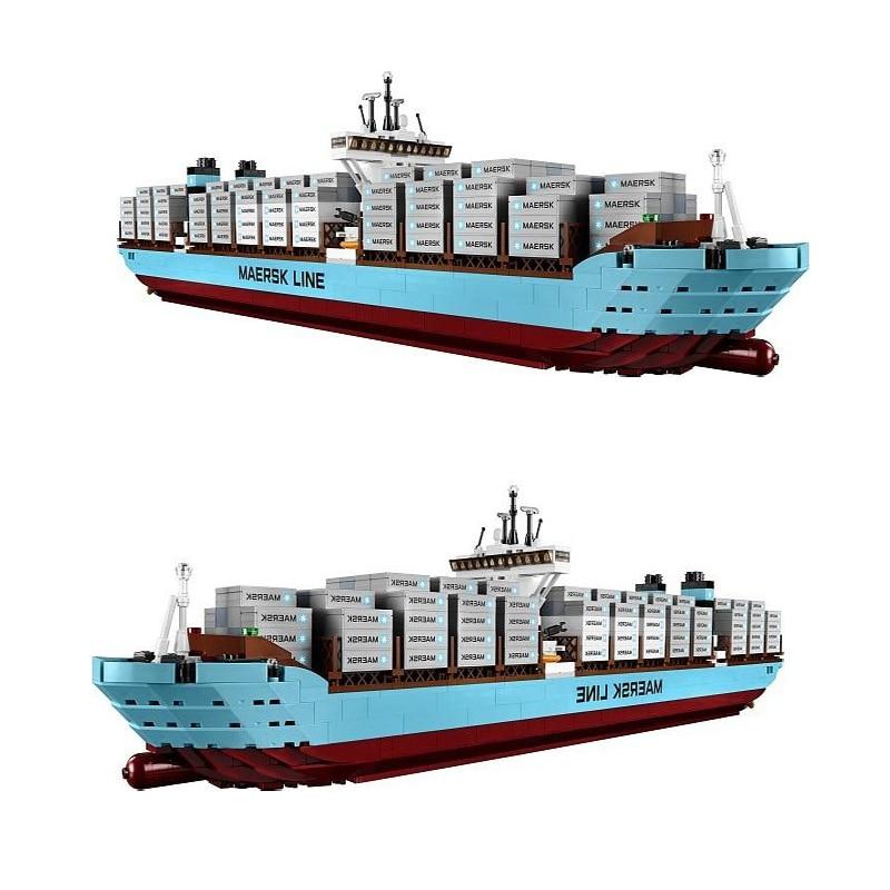 Compatible Legoe Technic 10241 model 22002 1518pcs Maersk Cargo Container Ship Set building blocks Bricks toys for children 22002 genuine technic series the maersk cargo container ship set 10241 building educational toys lepin
