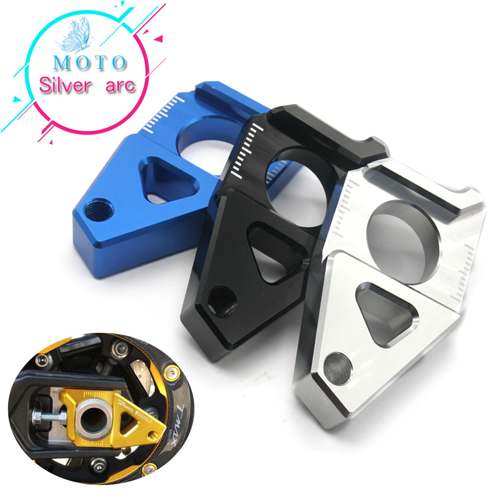 High quality Motorcycle CNC Rear Axle Spindle Chain Adjuster Blocks Black For Yamaha R1 YZF-R1 TMAX t-max 530 500 FZ8 FZ1 billet rear hub carriers for losi 5ive t