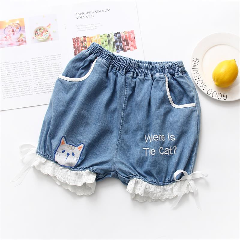 Summer New Mori Girl Sweet Lolita Cute Cat Pattern Lace Bow Jeans Shorts Japanese Kawaii Young Girl Patchwork Lantern Shorts