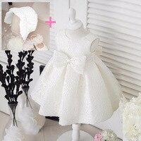 פרח לבן bowknot שמלות נסיכת שמלת כלה dress עבור 1 שנה יום הולדת dress vestido טבילת תינוקת infantil