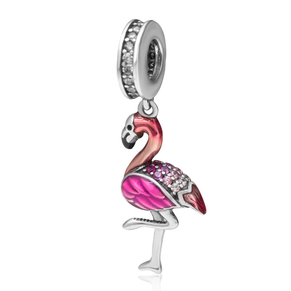 Authentic 925 Sterling Silver Enamel Flamingo Charms Pendnat DIY Beads Fine Jewelry Fit Pandora bracelets цена