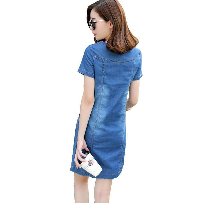 Новые летние шорты с длинными рукавами платье из джинсовой ткани Для женщин модные Повседневное V образный вырез горловины с буквой «А» платье для элегантный Для женщин сапоги на меху из хлопка платье свободное в талии B696