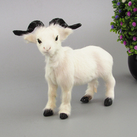About 20x17cm White Sheep Toy Plastic Furs Simulation Goat Model Home Decoration Xmas Gift W5806