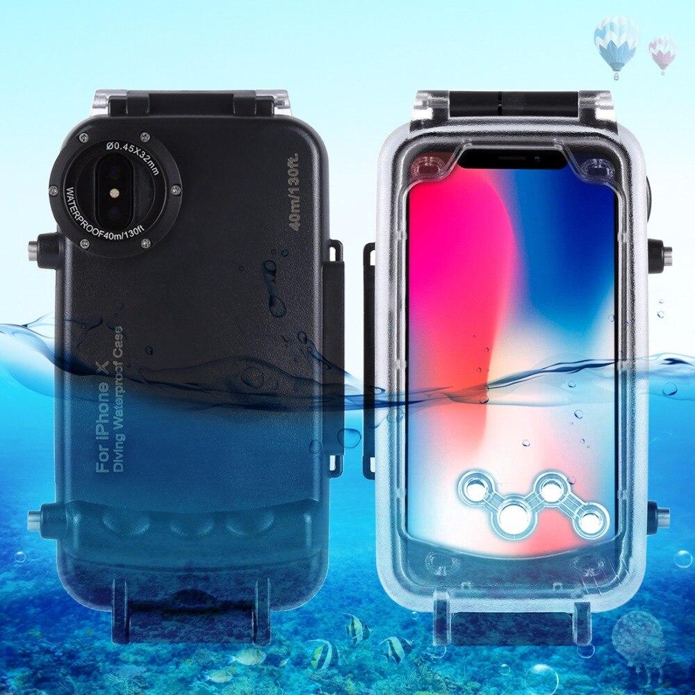Pour iPhone X 40 m/130ft Professionnel Plongée Étanche boîtier de protection Photo Vidéo coque étanche pour iPhone 7 8 Plus Cas