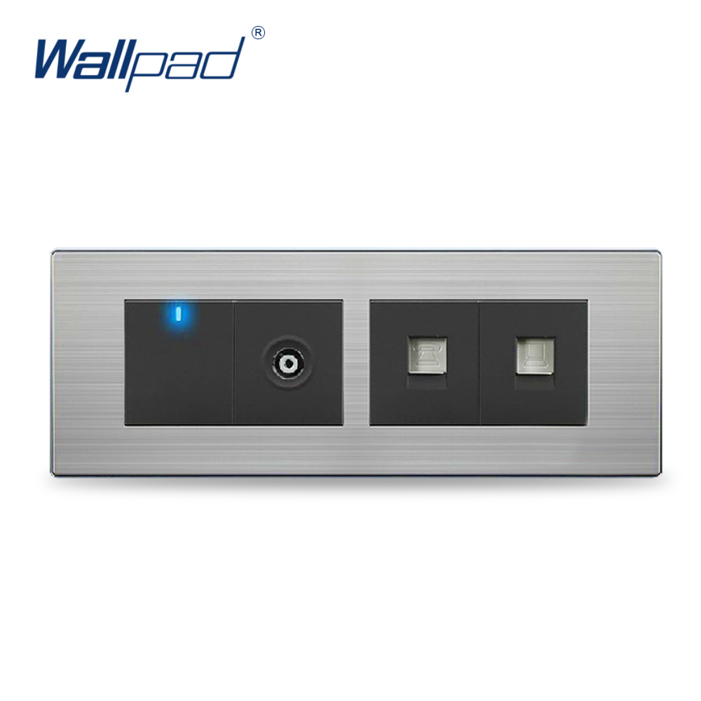 цена на Luxury Wall Light 1 Gang TV+Computer+Telephone Socket China Manufacturer Wallpad Push Button One-Side Click LED Indicator