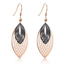 Trendy Hollowed-out double-layer leaves Stainless Steel Drop Earrings For Women Black/Rose Gold Color Drop Jewelry Gift(China)
